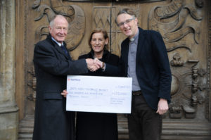 Cheque being presented by Andrew Brownsword