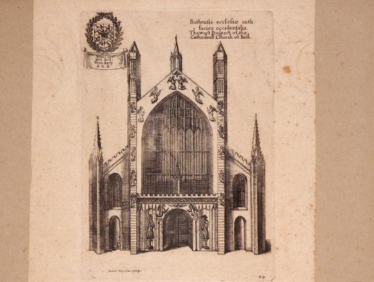 A drawing of the front of the Abbey in the 17th Century by Danie King