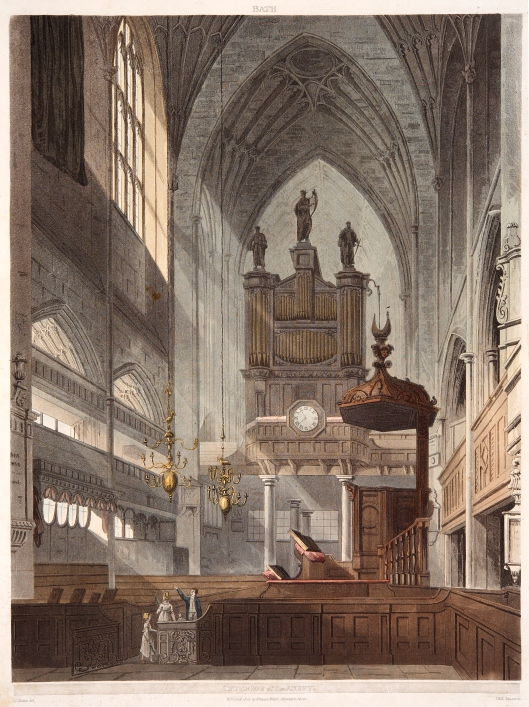 Aquatint by J C Natters - a drawing looking west from the choir