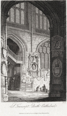 A VIEW OF THE SOUTH TRANSEPT BY JAMES STORER, 1814