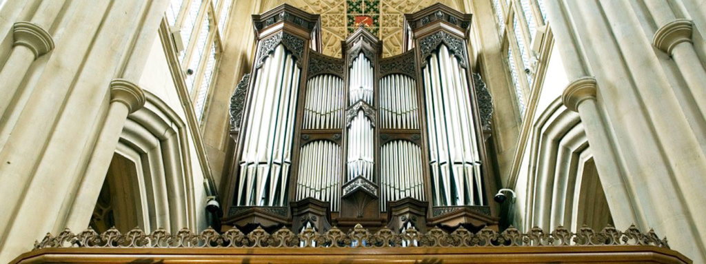 A view looking up at the pipes of the Klais Organ at Bath Abbey