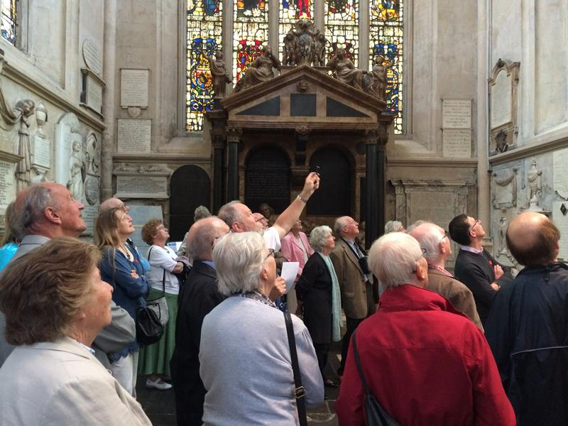 Members of the Friends of Bath Abbey on a tour of memorials in the Abbey