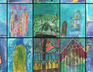 Artwork by school children for Footprint hoardings