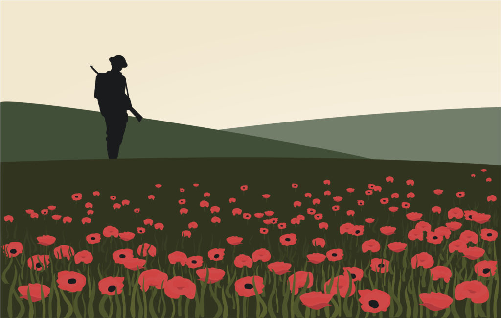 Lone soldier silhouette in field of poppies