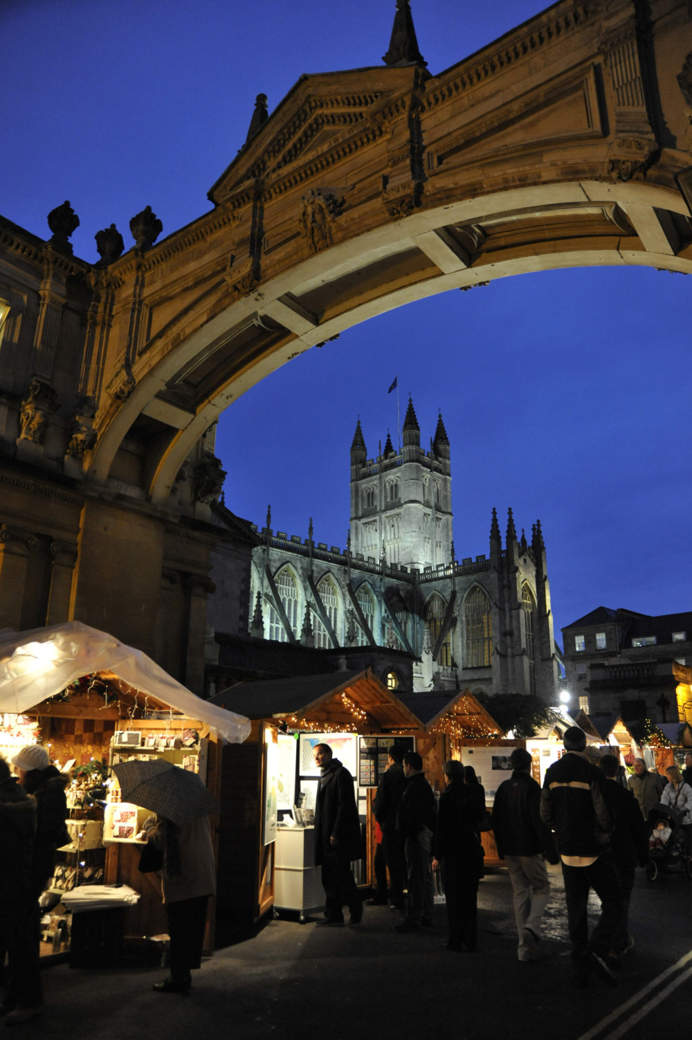 Christmas Market stalls in front of Bath Abbey