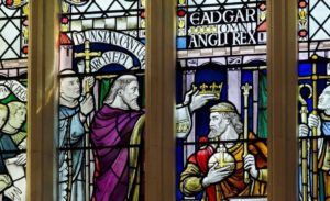Stained glass window showing coronation of King Edgar