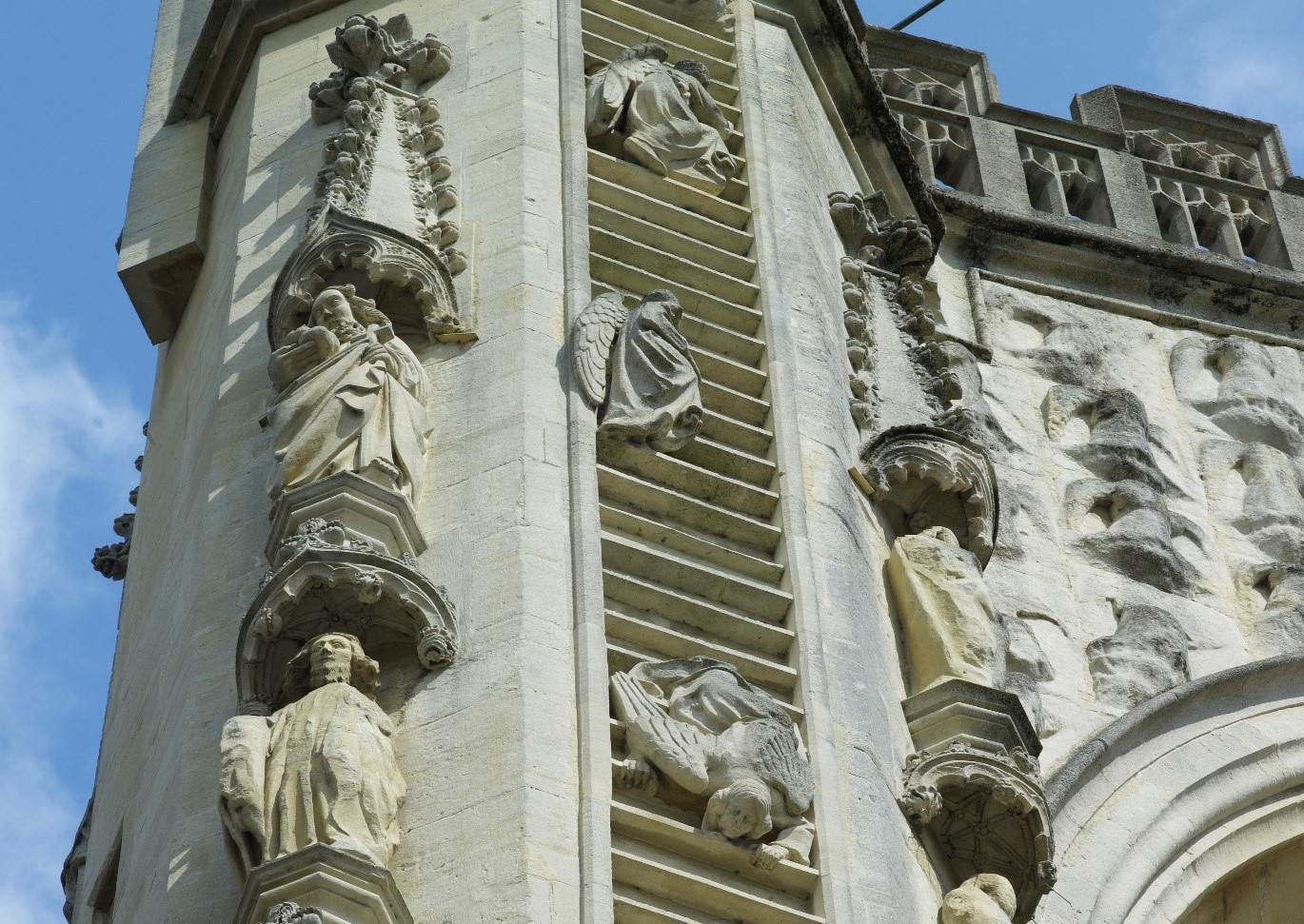 Ladders on west front of Abbey