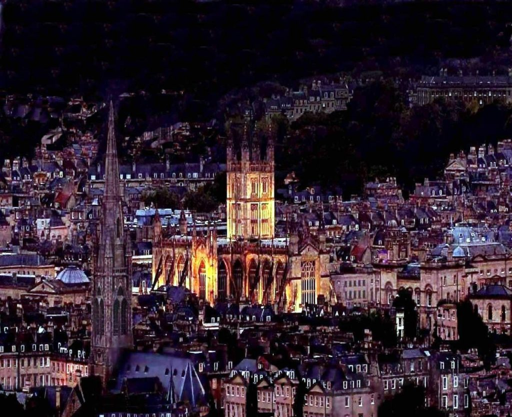Bath Abbey at night, image taken by David Lewis Baker