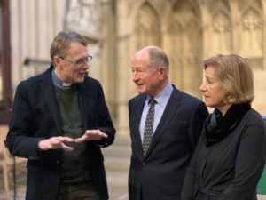 Revd Guy Bridgewater talking with Andrew and Christina Brownsword