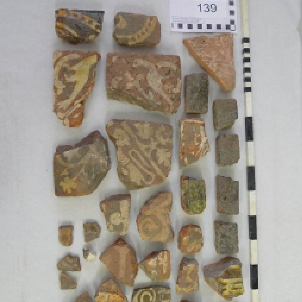 Fragments of historic floor tiles