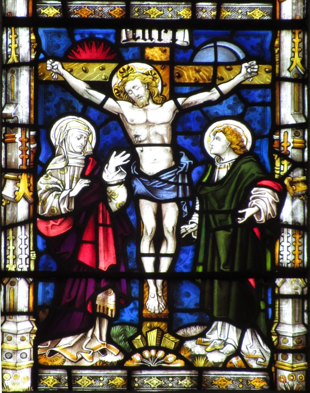 Detail of Christ's Crucifixion from a stained glass window in Bath Abbey