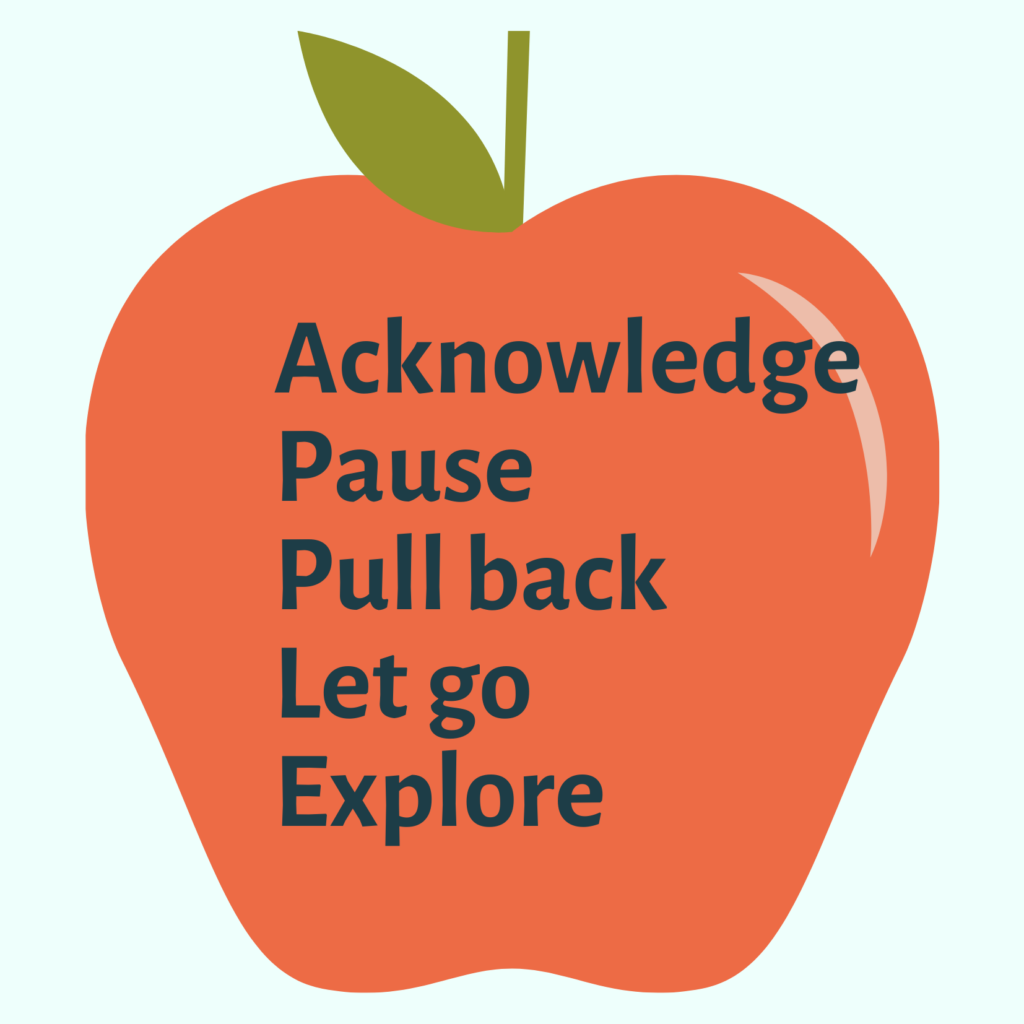 Red apple with the words Acknowledge, Pause, Pull Back, Let Go and Explore in the centre