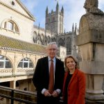Charles Curnock pictured left and Bath MP Wera Hobhouse pictured right at the Roman Baths with Bath Abbey in the background