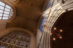 Bath Abbey ceiling and stained glass