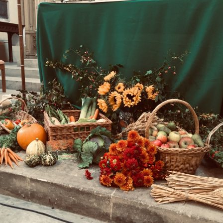Offerings of food gifts for Harvest