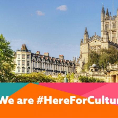 Bath Abbey with We are here for Culture logo