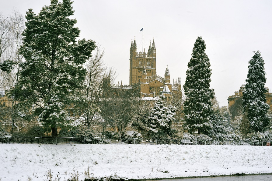 Abbey with snow