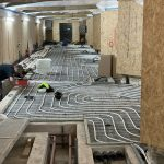 Underfloor heating pipes being laid in the Abbey as part of the Footprint project