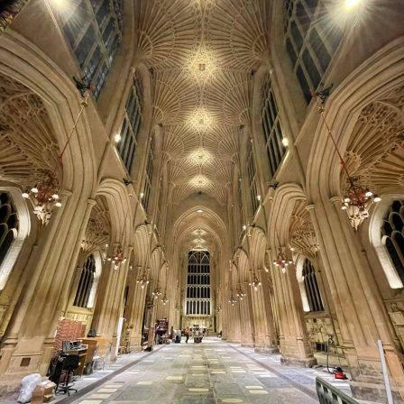 Bath Abbey interior and ceiling lit by new LED lighting
