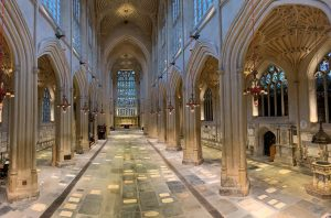Bath Abbey interior seen at the end of floor repairs and with underfloor heating on