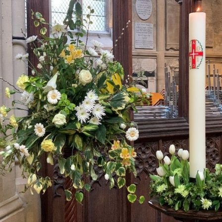 Flowers in the Bath Abbey sanctuary for the Easter season