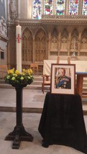 Portrait of HRH Duke of Edinburgh Prince Philip in the sanctuary of Bath Abbey