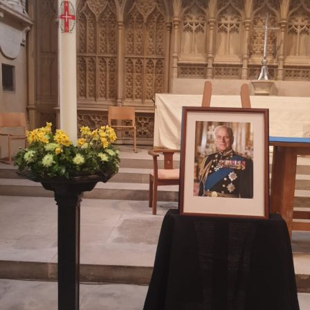 Portrait of HRH Duke of Edinburgh Prince Philip in the sanctuary of Bath Abbey