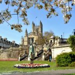 Bath Abbey in spring seen from Parade Gardens