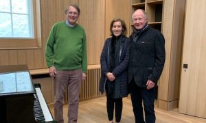 Guy Bridgewater with Christina and Andrew Brownsword in the soon-to-be-completed Song School