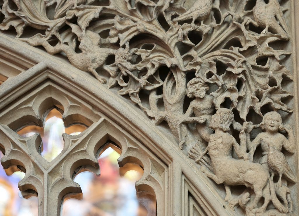 Detail of intricate stone carving in the Birde Chantry at Bath Abbey