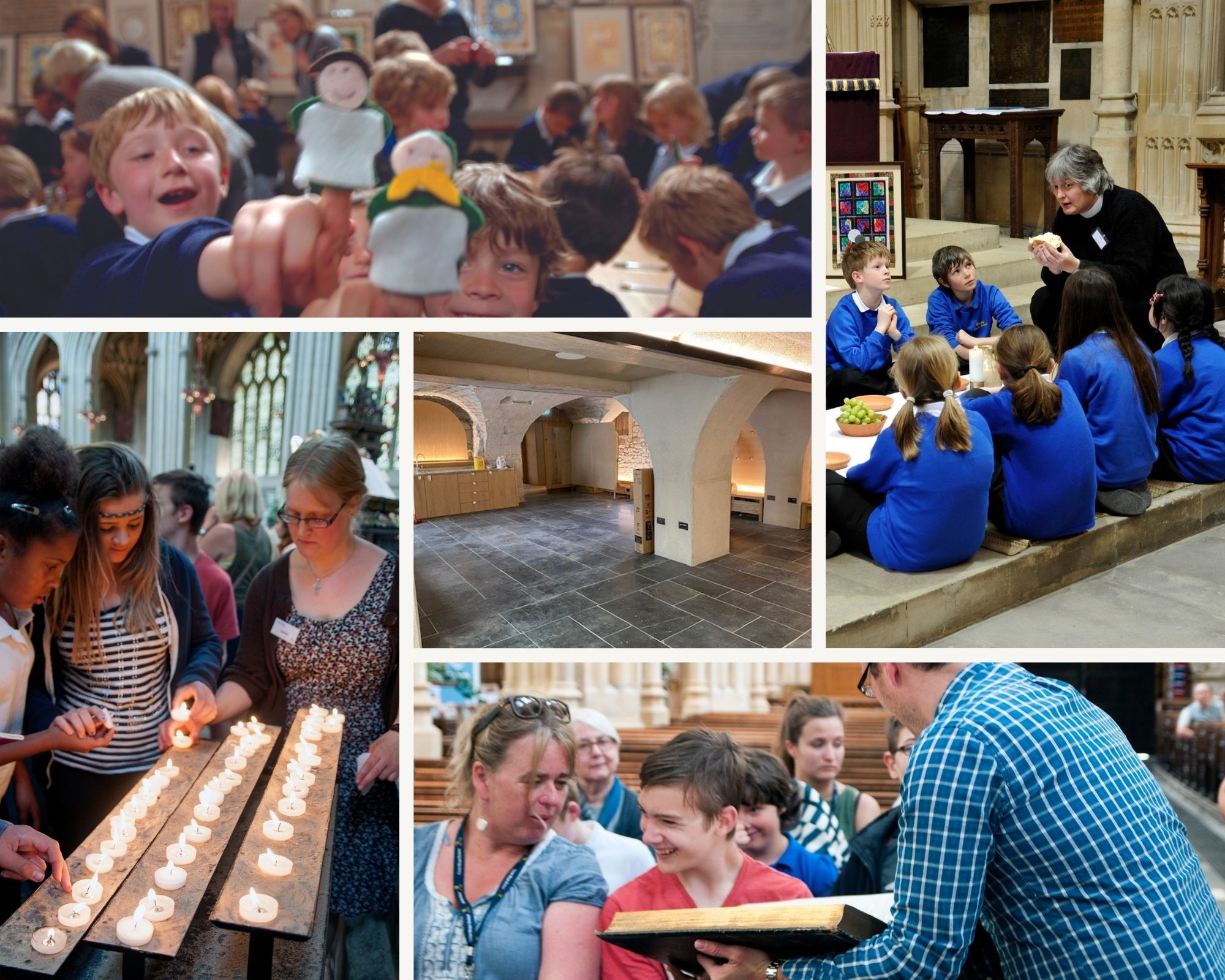 Collage of schoolchildren enjoying various activities in Bath Abbey